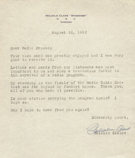 MALCOLM SPARERIBS CLAIRE - TYPED LETTER SIGNED 08/12/1936