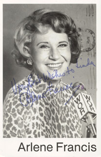 ARLENE FRANCIS - INSCRIBED PICTURE POSTCARD SIGNED 1981