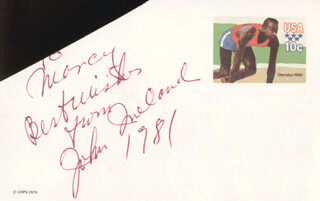 JOHN IRELAND - AUTOGRAPH NOTE SIGNED 1981