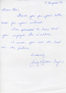 JUDY NORTON-TAYLOR - AUTOGRAPH LETTER SIGNED 08/11/1987