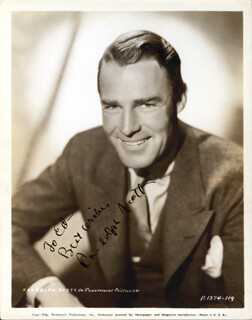 RANDOLPH SCOTT - INSCRIBED PRINTED PHOTOGRAPH SIGNED IN INK