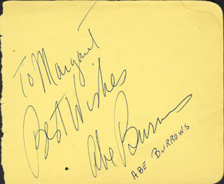 ABE BURROWS - AUTOGRAPH NOTE SIGNED