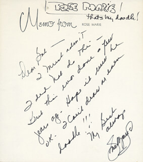 ROSE MARIE - AUTOGRAPH LETTER SIGNED
