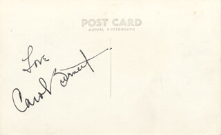 CAROL BURNETT - PICTURE POST CARD SIGNED
