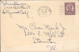 JOHNNY DOWNS - AUTOGRAPH ENVELOPE SIGNED CIRCA 1934