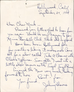 JOHNNY DOWNS - AUTOGRAPH LETTER SIGNED 09/24/1934