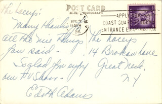 EDIE ADAMS - AUTOGRAPH NOTE SIGNED 08/21/1956