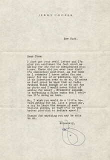 JERRY COOPER - TYPED LETTER SIGNED