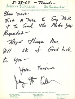 JOHNNY DOLLAR - AUTOGRAPH LETTER SIGNED 05/23/1967