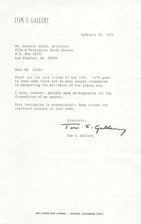 TOM GALLERY - TYPED LETTER SIGNED 02/19/1976