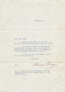 FLORENCE GEORGE - TYPED LETTER UNSIGNED 05/29/1941
