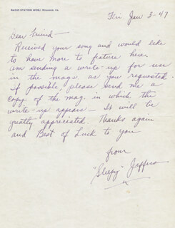 SLEEPY JEFFERS - AUTOGRAPH LETTER SIGNED 01/03/1947