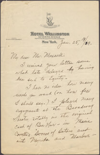 MARY SHAW - AUTOGRAPH LETTER SIGNED 01/25/1929
