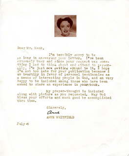 ANNE WHITFIELD - TYPED LETTER SIGNED 7/6