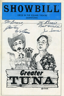 GREATER TUNA PLAY CAST - INSCRIBED SHOW BILL COVER SIGNED CO-SIGNED BY: JASTON WILLIAMS, JOE SEARS