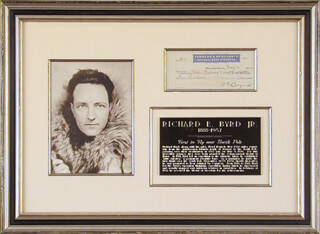 Autographs: REAR ADMIRAL RICHARD E. BYRD - CHECK SIGNED 05/07/1932