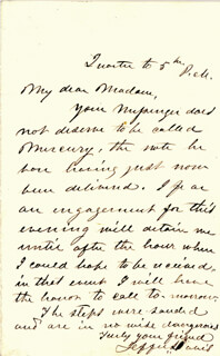 PRESIDENT JEFFERSON DAVIS (CONFEDERATE STATES OF AMERICA) - AUTOGRAPH LETTER SIGNED