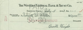 ORVILLE WRIGHT - AUTOGRAPHED SIGNED CHECK 07/05/1943 CO-SIGNED BY: IVONETTE WRIGHT-MILLER