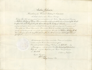 PRESIDENT ANDREW JOHNSON - CIVIL APPOINTMENT SIGNED 01/15/1866 CO-SIGNED BY: WILLIAM HUNTER, ALGERNON S. PADDOCK