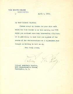 Autographs: PRESIDENT CALVIN COOLIDGE - TYPED LETTER SIGNED 04/06/1925