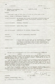 LOU HOLTZ - CONTRACT SIGNED 04/03/1945 CO-SIGNED BY: ANNA SOSENKO