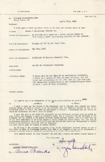 BURGESS MEREDITH - CONTRACT SIGNED 04/26/1946 CO-SIGNED BY: ANNA SOSENKO