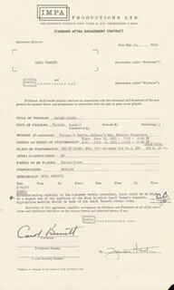 CAROL BURNETT - CONTRACT SIGNED 05/15/1962