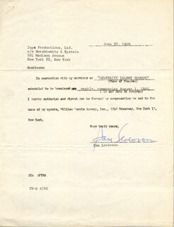 SAM LEVENSON - CONTRACT SIGNED 06/22/1960