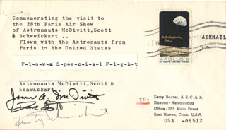 Autographs: APOLLO IX - COMMEMORATIVE ENVELOPE SIGNED CO-SIGNED BY: BRIGADIER GENERAL JAMES A. McDIVITT, COLONEL DAVID R. SCOTT, RUSTY SCHWEICKART