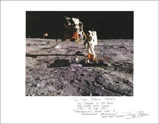 COLONEL BUZZ ALDRIN - INSCRIBED PHOTOGRAPH MOUNT SIGNED