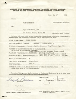 FLOYD PATTERSON - CONTRACT SIGNED 05/17/1962