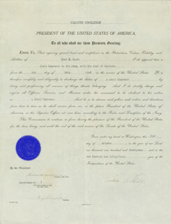Autographs: PRESIDENT CALVIN COOLIDGE - NAVAL APPOINTMENT SIGNED 10/21/1926 CO-SIGNED BY: CURTIS D. WILBUR