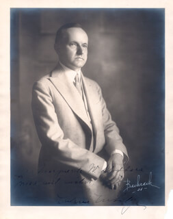 PRESIDENT CALVIN COOLIDGE - AUTOGRAPHED INSCRIBED PHOTOGRAPH CIRCA 1925