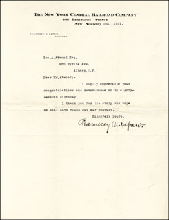 CHAUNCEY M. DEPEW - TYPED LETTER SIGNED 05/02/1921