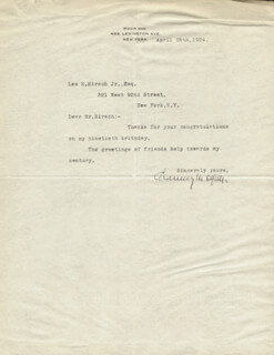 CHAUNCEY M. DEPEW - TYPED LETTER SIGNED 04/28/1924