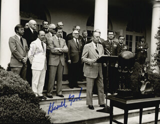 PRESIDENT GERALD R. FORD - AUTOGRAPHED SIGNED PHOTOGRAPH CIRCA 1975 CO-SIGNED BY: CAPTAIN CHARLES PETE CONRAD JR.