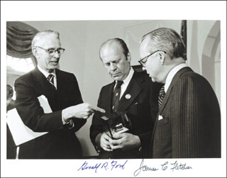 PRESIDENT GERALD R. FORD - AUTOGRAPHED SIGNED PHOTOGRAPH CIRCA 1974 CO-SIGNED BY: JAMES FLETCHER