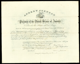 PRESIDENT ANDREW JOHNSON - CIVIL APPOINTMENT SIGNED 04/10/1866 CO-SIGNED BY: HUGH McCULLOCH