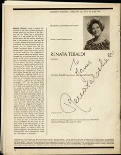 RENATA TEBALDI - INSCRIBED PROGRAM SIGNED CIRCA 1973