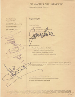 INGRID BJONER - PROGRAM PAGE SIGNED CO-SIGNED BY: JAMES LEVINE, JESS THOMAS