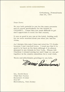 FIRST LADY MAMIE DOUD EISENHOWER - TYPED LETTER SIGNED 06/29/1967
