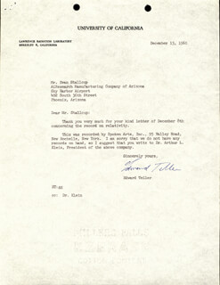 EDWARD TELLER - TYPED LETTER SIGNED 12/13/1960