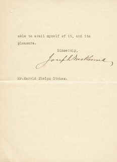 Autographs: ASSOCIATE JUSTICE JOSEPH MCKENNA - TYPED LETTER SIGNED 10/27/1923