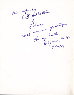 HENRY MILLER - INSCRIBED PROGRAM SIGNED 04/21/1950