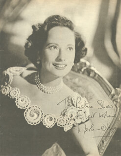 MERLE OBERON - INSCRIBED MAGAZINE PHOTO SIGNED