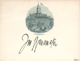 JOHN WANAMAKER - ENGRAVED CARD SIGNED CIRCA 1900