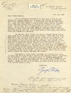 GEORGE ABBE - TYPED LETTER SIGNED 01/25/1958 CO-SIGNED BY: WITTER BYNNER