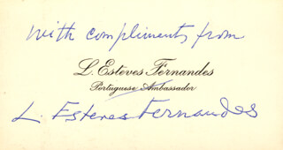 LUIS ESTEVES FERNANDES - AUTOGRAPH SENTIMENT ON CALLING CARD SIGNED