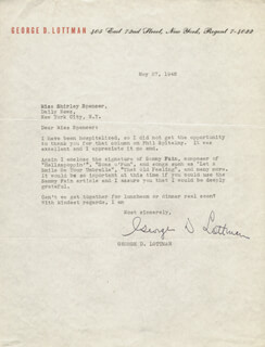 GEORGE D. LOTTMAN - TYPED LETTER SIGNED 05/27/1942