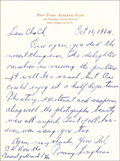 TOMMY LOUGHRAN - AUTOGRAPH LETTER SIGNED 10/10/1964